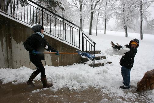 snow shovel fight