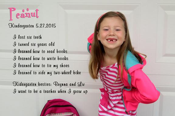 End of Kindergarten stats-Peanut