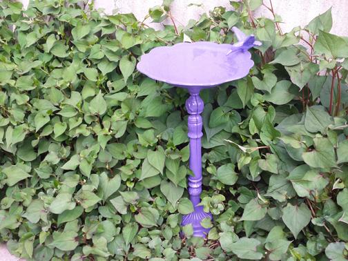 purple birdbath